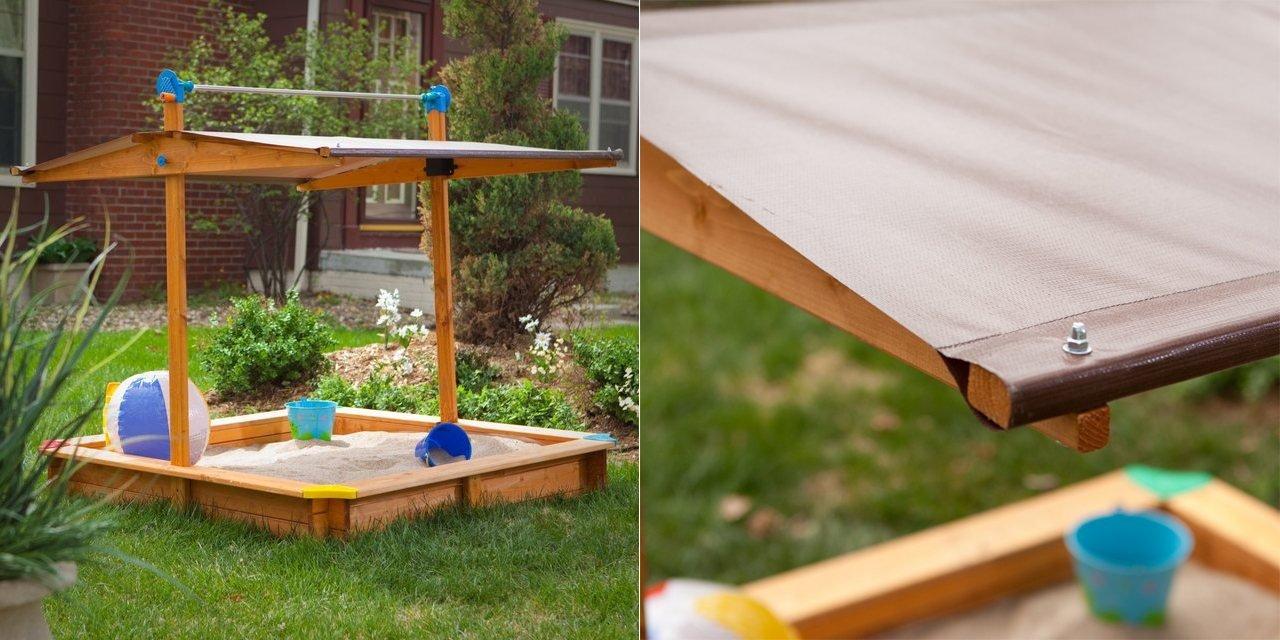 Caja de arena con cubierta para el sol ideas para regalar for Caja de colores jardin infantil