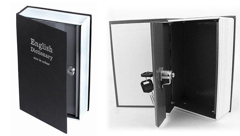 Caja fuerte con forma de libro ideas para regalar - Guardar dinero en casa de forma segura ...