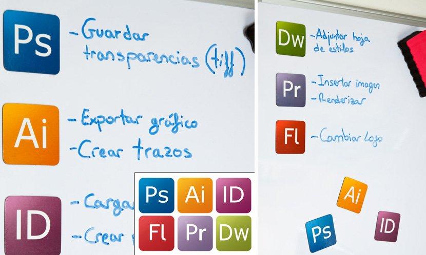 Imanes de iconos de diseu00f1o gru00e1fico. Ideas para regalar.