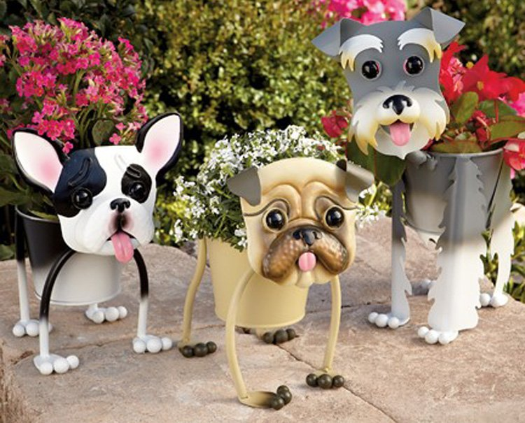 Macetas con forma de perros ideas para regalar for Macetas decoradas para jardin