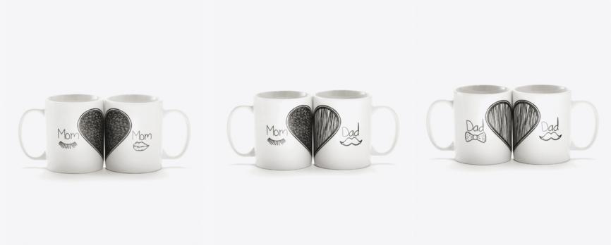 Tazas románticas para regalar a los padres. Ideas para regalar.